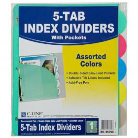 C-Line 5-Tab Poly Index Dividers w/Slant Pocket, Asstd Colors