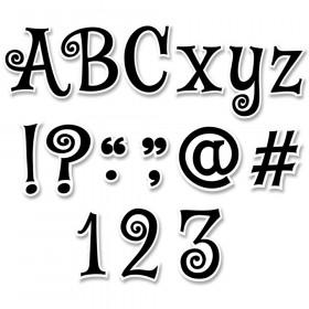 """Black Swirl 4"""" Designer Letters, 245/Pack"""