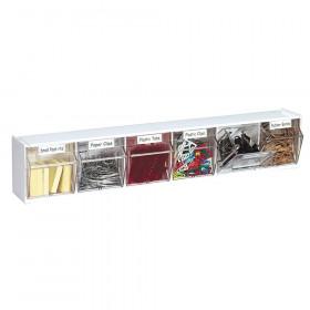 Tilt Bin Interlocking Storage Bins, 6-Bin Unit, White