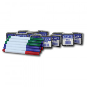 Class Pack of 12 Erasers & 12 Colored Pens