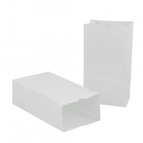 "Large Gusseted Paper Bags, 6"" x 3.5"" x 11"", White, 100/Pack"