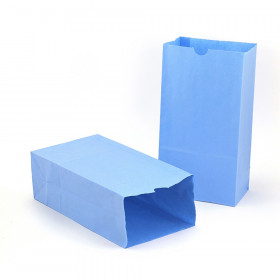 """Gusseted Paper Bags, #6 (6"""" x 3.5"""" x 11""""), Blue, Pack of 50"""
