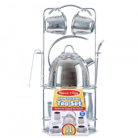 Stainless Steel Tea Set and Storage Stand, 11 Pieces