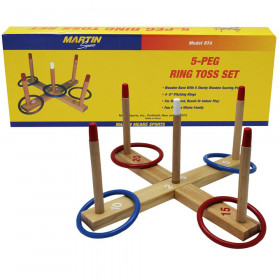Ring Toss Game 5-Peg Base Wood Pegs 4 Plastic Rings