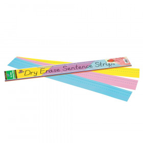 """Dry Erase Sentence Strips, 3 Assorted Colors, 1-1/2"""" X 3/4"""" Ruled, 3"""" x 24"""", 30 Strips"""