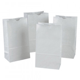 "Kraft Bag, White, 6"" x 3-5/8"" x 11"", 100 Bags"