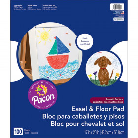 "Easel & Floor Pads, White, Unruled 17"" x 20"", 50 Sheets, Pack of 2"