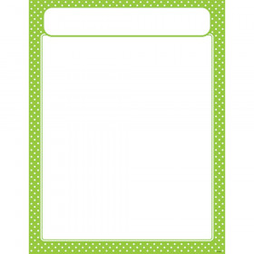 Polka Dots Lime Learning Chart