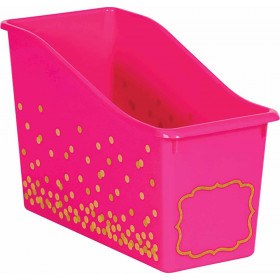Pink Confetti Plastic Book Bin
