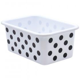 Black Polka Dots on White Small Plastic Storage Bin
