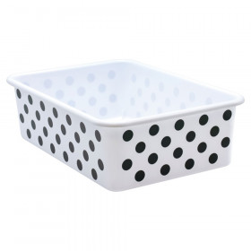 Black Polka Dots on White Large Plastic Storage Bin