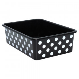 White Polka Dots on Black Large Plastic Storage Bin