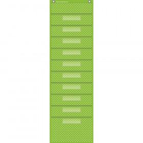 "Lime Polka Dots 10 Pocket File Storage Pocket Chart (14"" x 46.5"")"