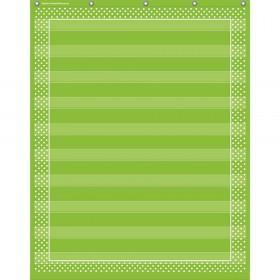 "Lime Polka Dots 10 Pocket Chart (34"" x 44"")"