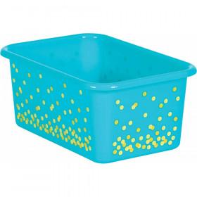 Teal Confetti Small Plastic Storage Bin