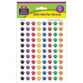 Mini Colorful Paw Prints Valu-Pak Stickers