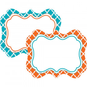 Orange & Teal Wild Moroccan Name Tags/Labels