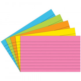 """Index Cards Lined 3"""" x 5"""", Brite Assorted, Pack of 75"""