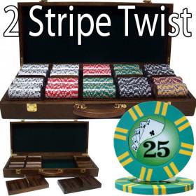 2 Stripe Twist 500pc 8G Poker Chip Set w/Walnut Case