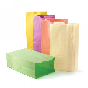 HYG66289 - Colorful Paper Bags Sz6 Pastel Assorted Colors in Craft Bags