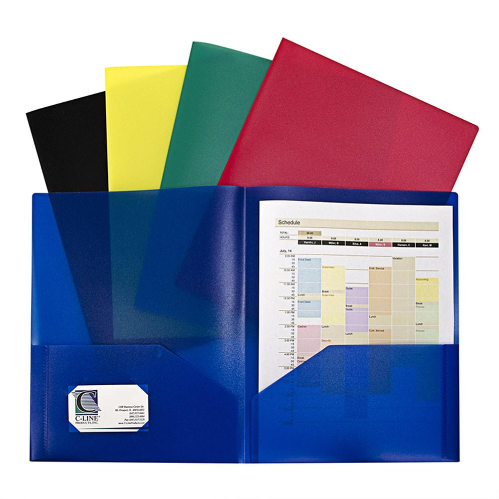 Assorted Two Pocket Poly Portfolios Without Prongs Pack Of