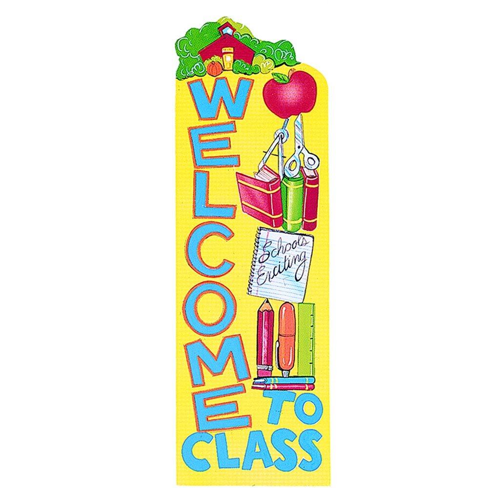 Foreign Language Classroom Decorations ~ Banner welcome to class vertical eu