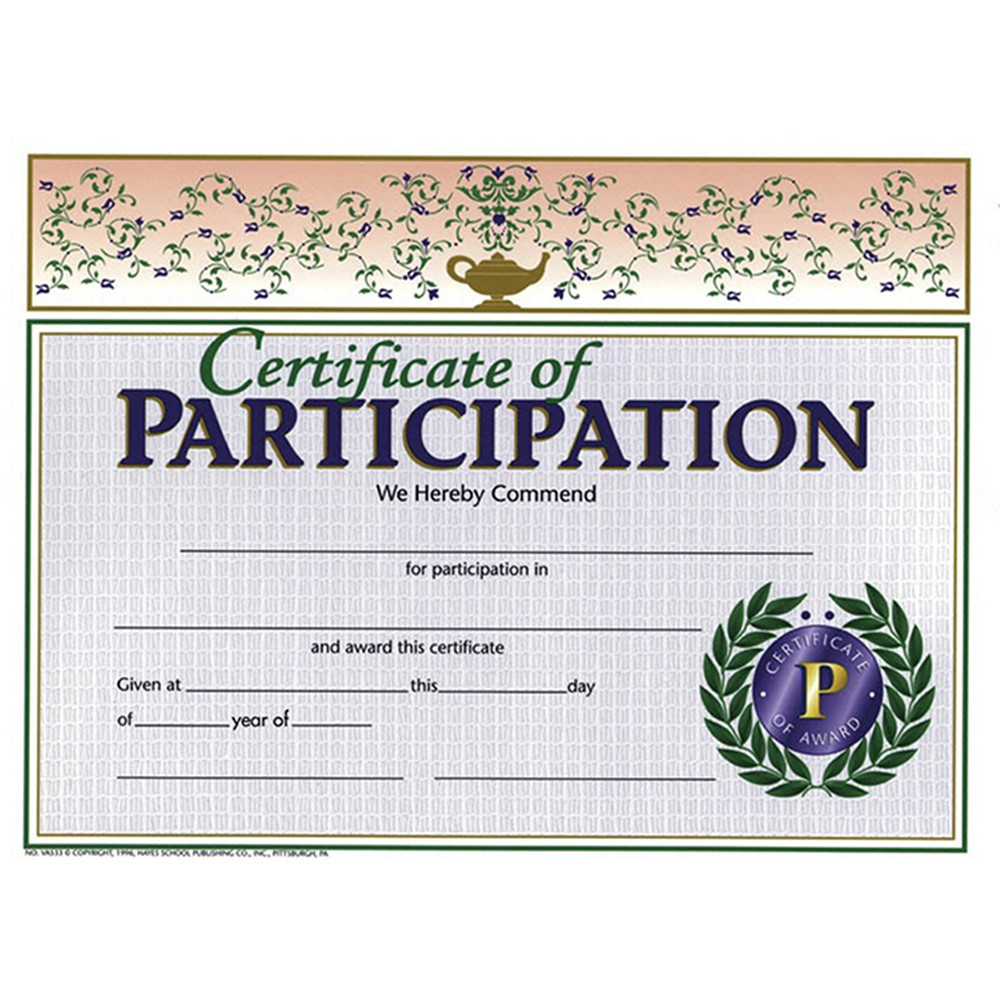 participation certificate certificates hayes template pk awards templates award packs classroom publishing pack supplies printable student walmart handwritten visit motivators