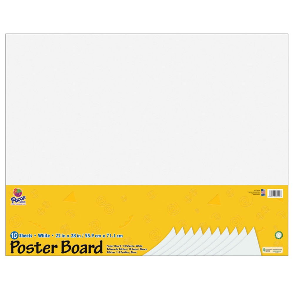 white poster board 22x28 10 sheets pac5420 pacon
