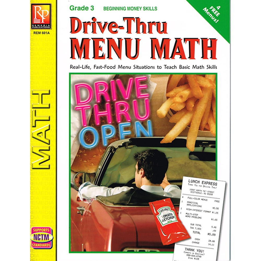 Drive Thru Menu Math Beginning Money Skills