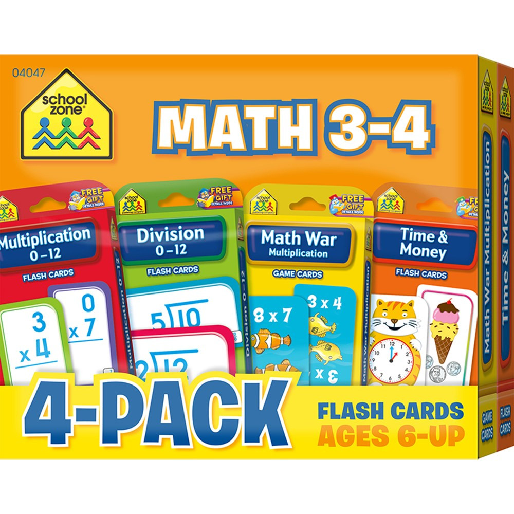 Math 3 4 Flash Cards 4 Pk Szp04047 School Zone Publishing