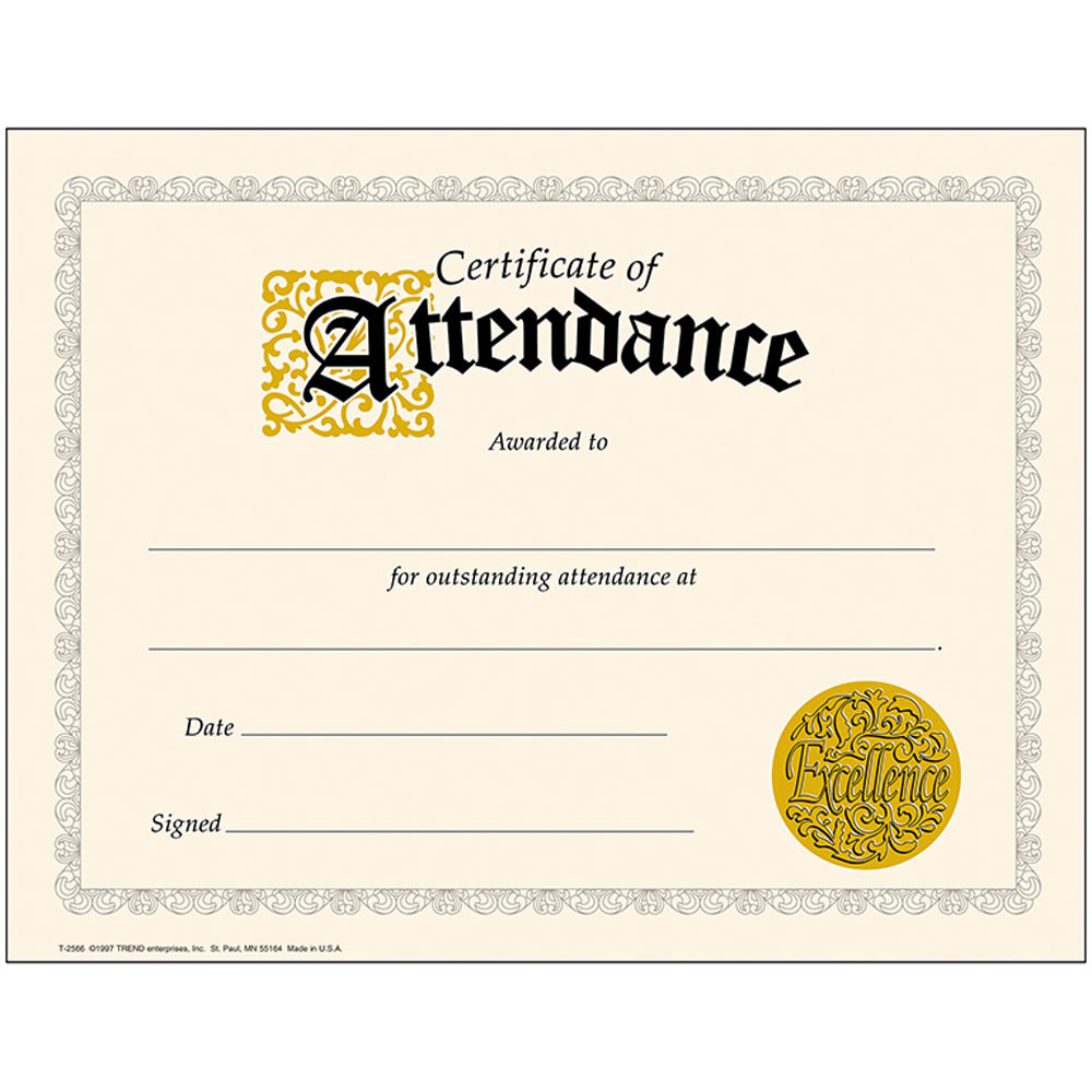 attendance certificate classic certificates honor roll award 2566