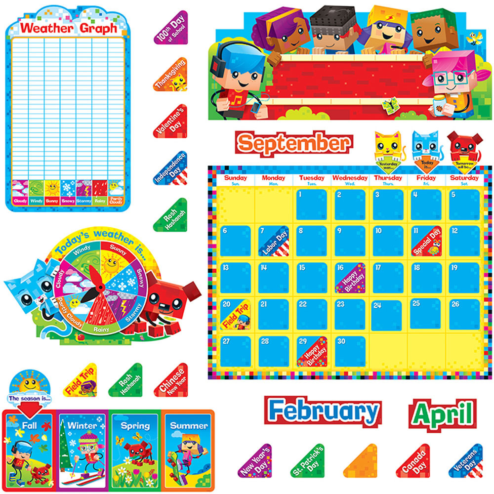 Classroom Calendar Sets : Blockstars calendar bulletin board set t trend