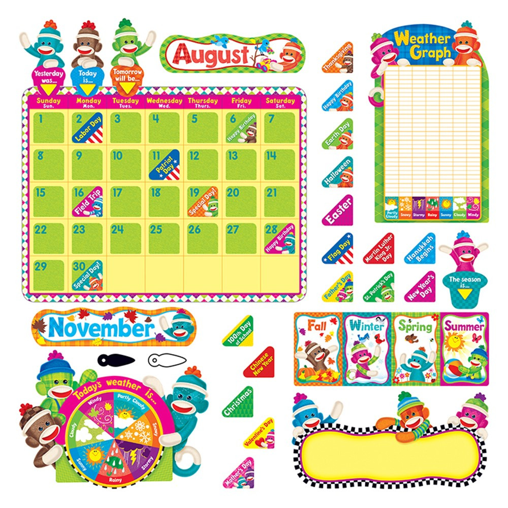 Classroom Calendar Bulletin Board Set : Sock monkeys calendar bulletin board set t trend