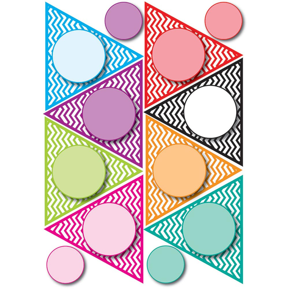 ASH10136 - Die Cut Magnet Pennants Color Chevron in Accents