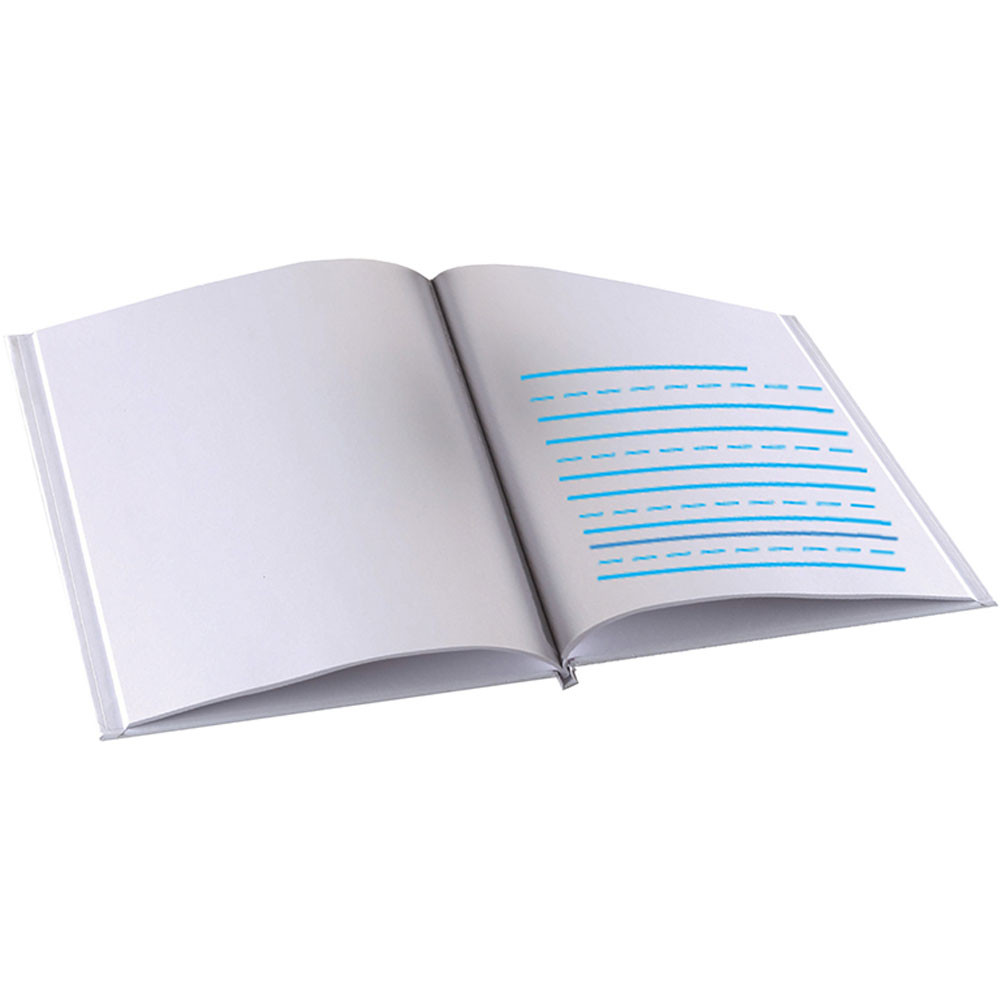 ASH10702 - Portrait Style Hardcover Book 8.5X11 White W/ Blue Lines in Writing Skills