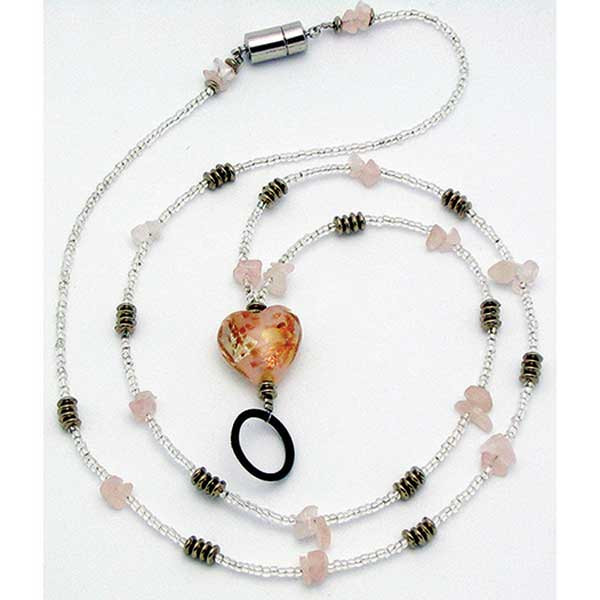 ASH10960 - Pink & Gold Heart Identification Holder & Beaded Lanyard in Accessories
