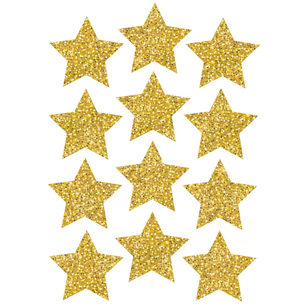 ASH30400 - Die Cut Magnets 3In Gold Sparkle Stars in Accents