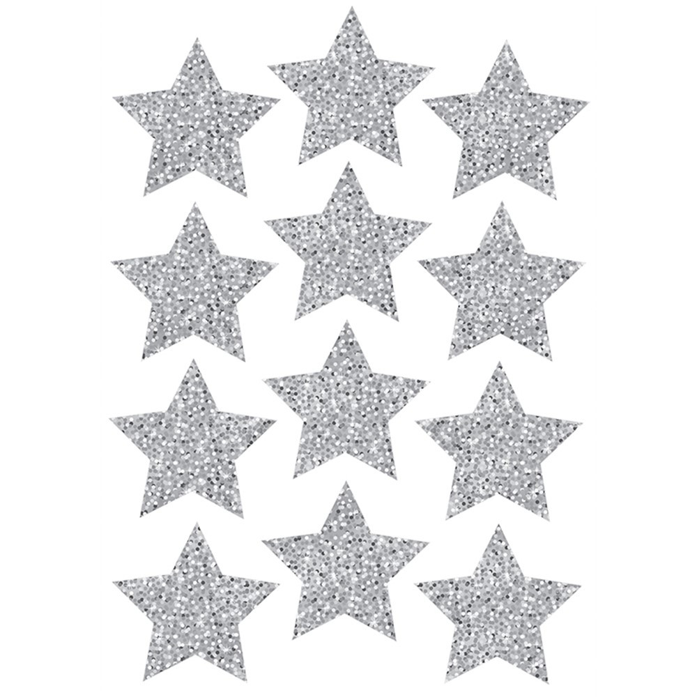ASH30401 - Die Cut Magnets 3In Silver Sparkle Stars in Accents