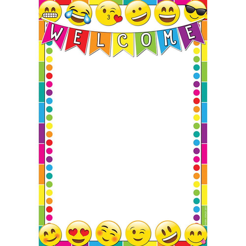ASH91004 - Emoji Welcome 13X19 Smart Chart Poly in Classroom Theme