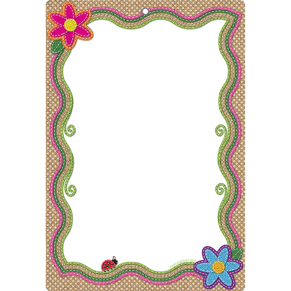 ASH91057 - Smart Burlap Stitched Blank Dry-Erase Surface in Classroom Theme