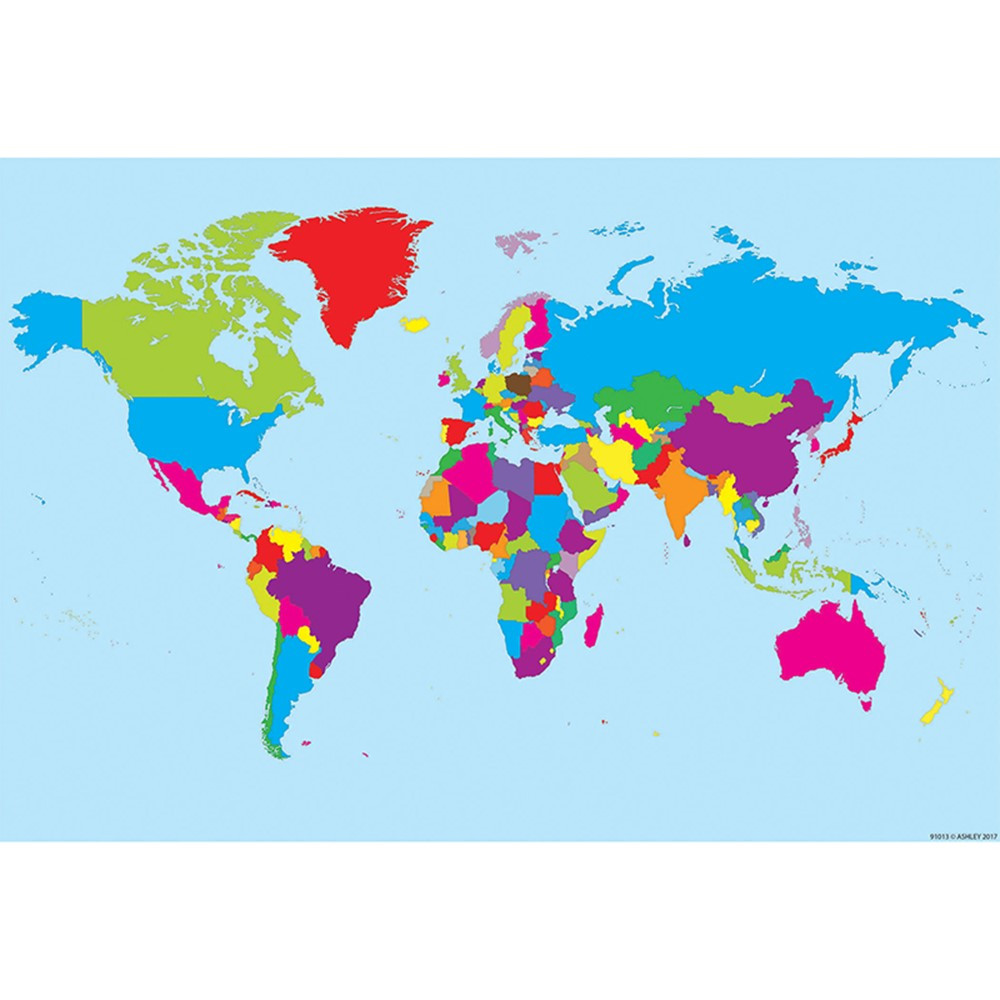 10 Pk Smart Poly World Map Charts Dry-Erase Surface - ASH91801 ... Dry Erase World Map on