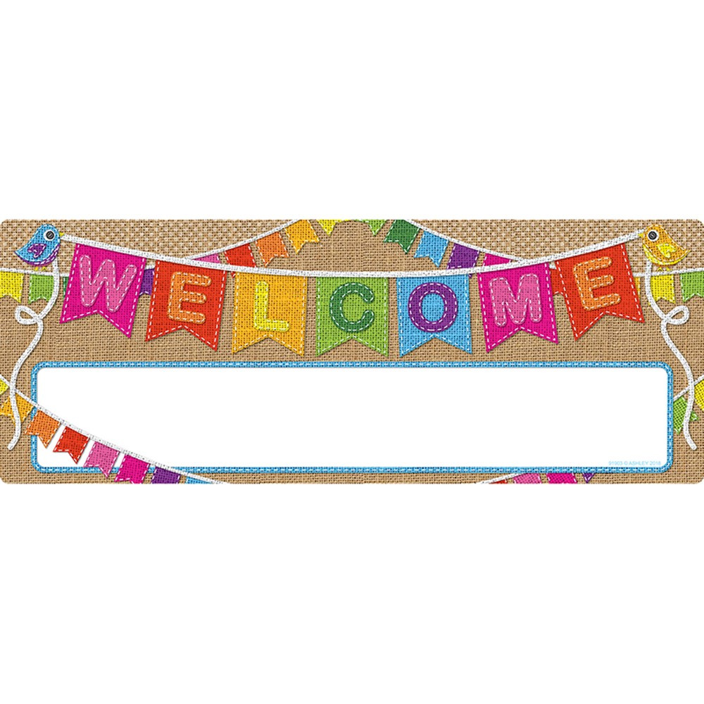ASH91903 - Smart Poly Welcome Banner Burlap Dry-Erase Surface in Banners