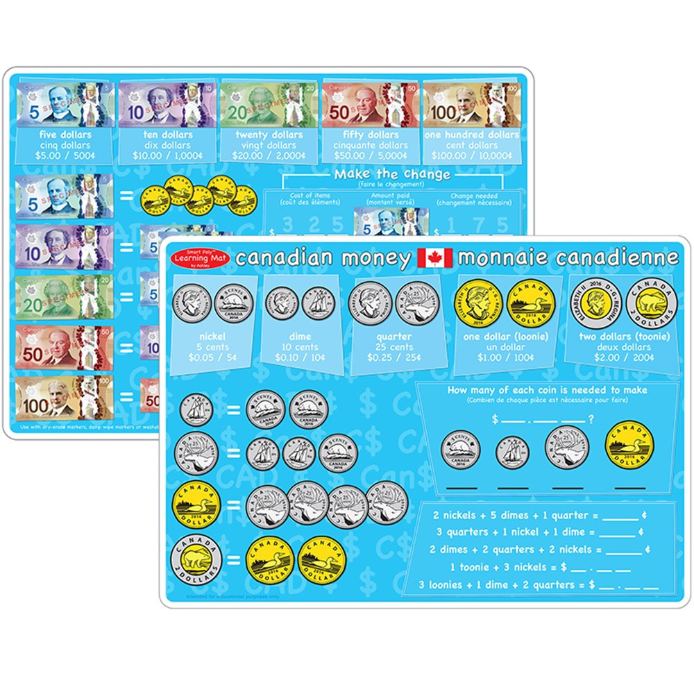 Canadian Money Learning Mat 2 Sided Write On Wipe Off