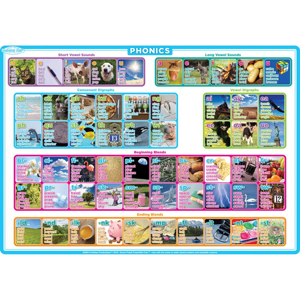 "Smart Poly Single Sided PosterMat Pals, Phonics, 12 x 17.25"" - ASH95204 