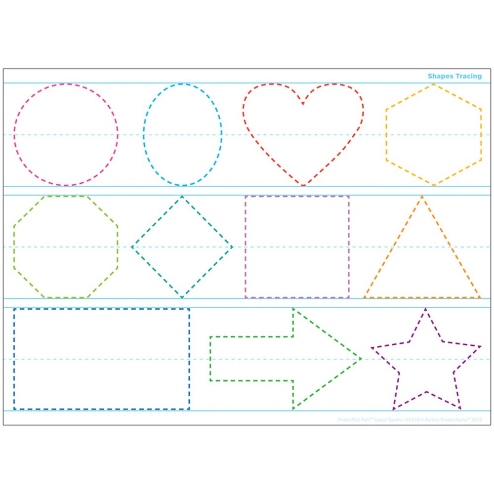 """Smart Poly Single Sided PosterMat Pals Space Savers, Shapes Tracing, 13 x 9.5"""" - ASH95318 