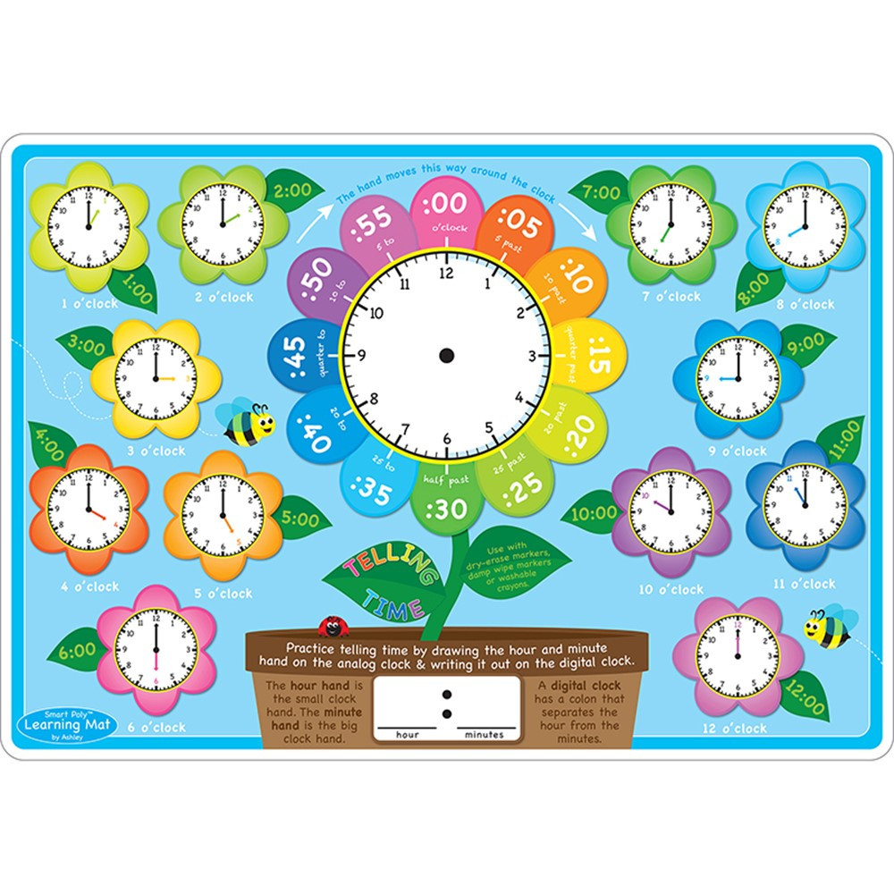 ASH95618 - 10Pk Telling Time Learn Mat 2 Sided Write On Wipe Off in Time