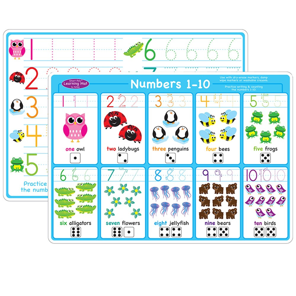 ASH95623 - 10Pk Numbers 1-10 Learning Mat 2 Sided Write On Wipe Off in Resources