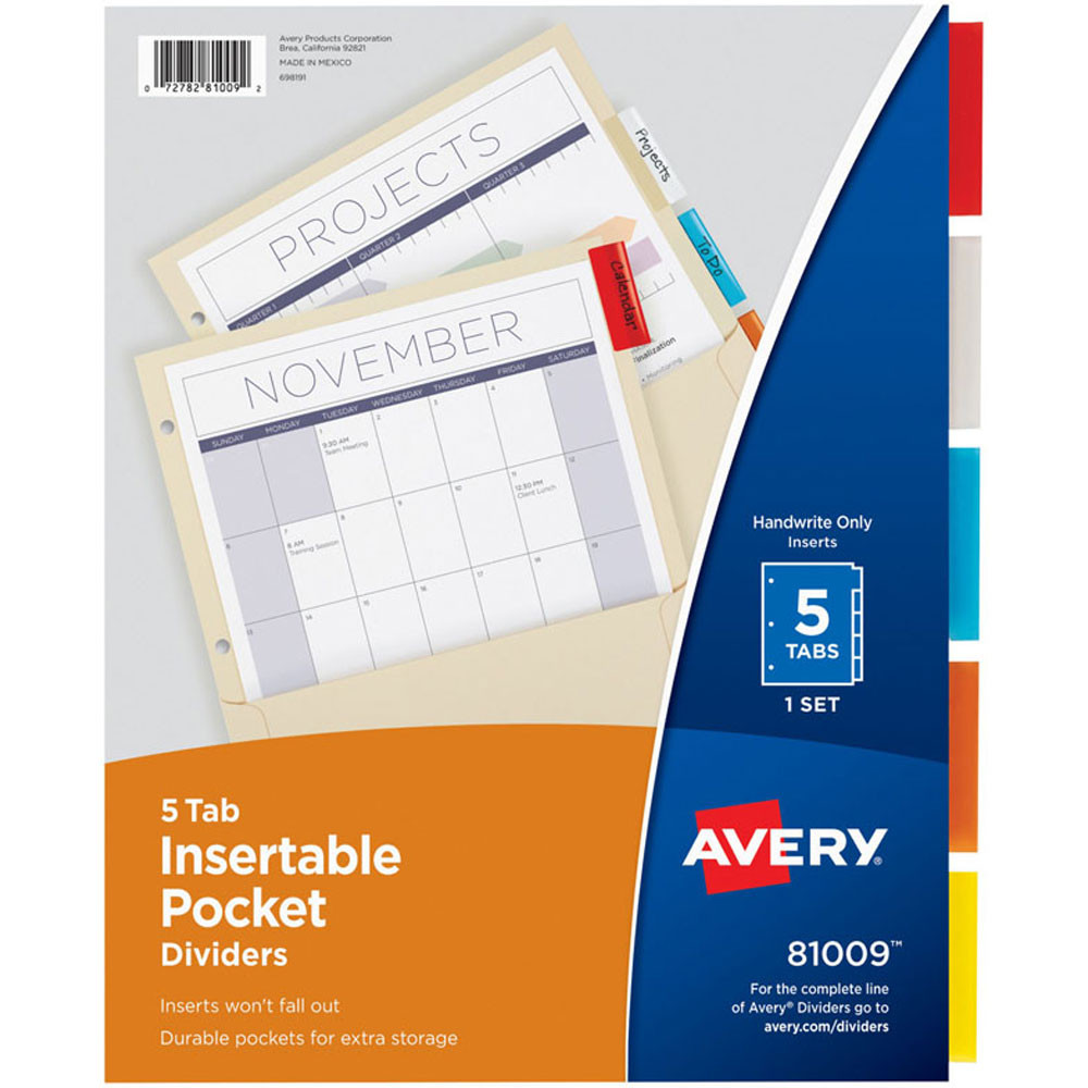 AVE81009 - Pockets N Tabs Insertable Dividers 5 Tab Set in Dividers