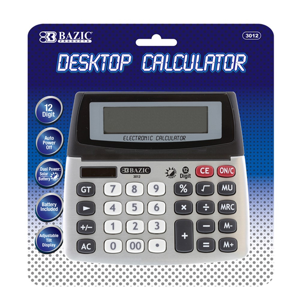 12-Digit Dual Power Desktop Calculator with Adjustable Display - BAZ3012 | Bazic Products | Calculators