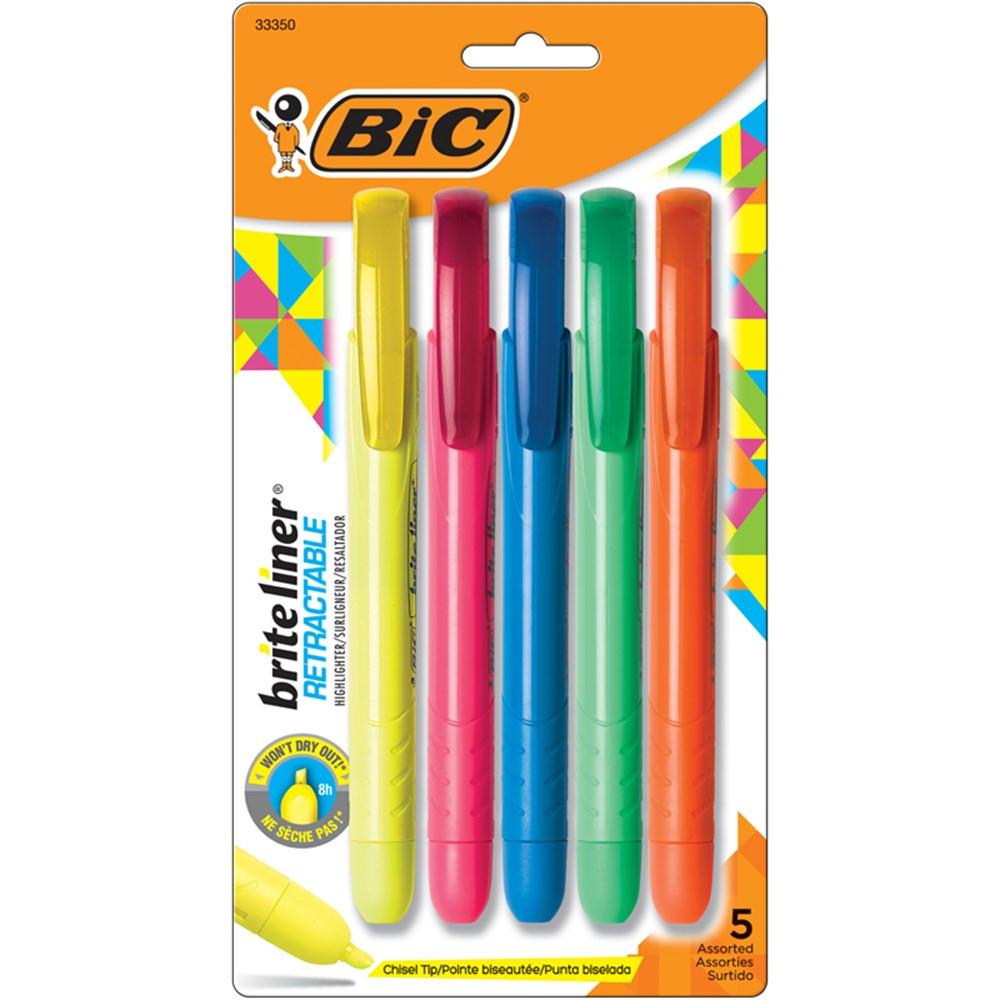 BICBLRP51 - Brite Liner Retractable 5 Pk Chisel Tip in Highlighters